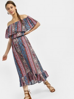 Kisscoast Mixed Print Off Shoulder Dress