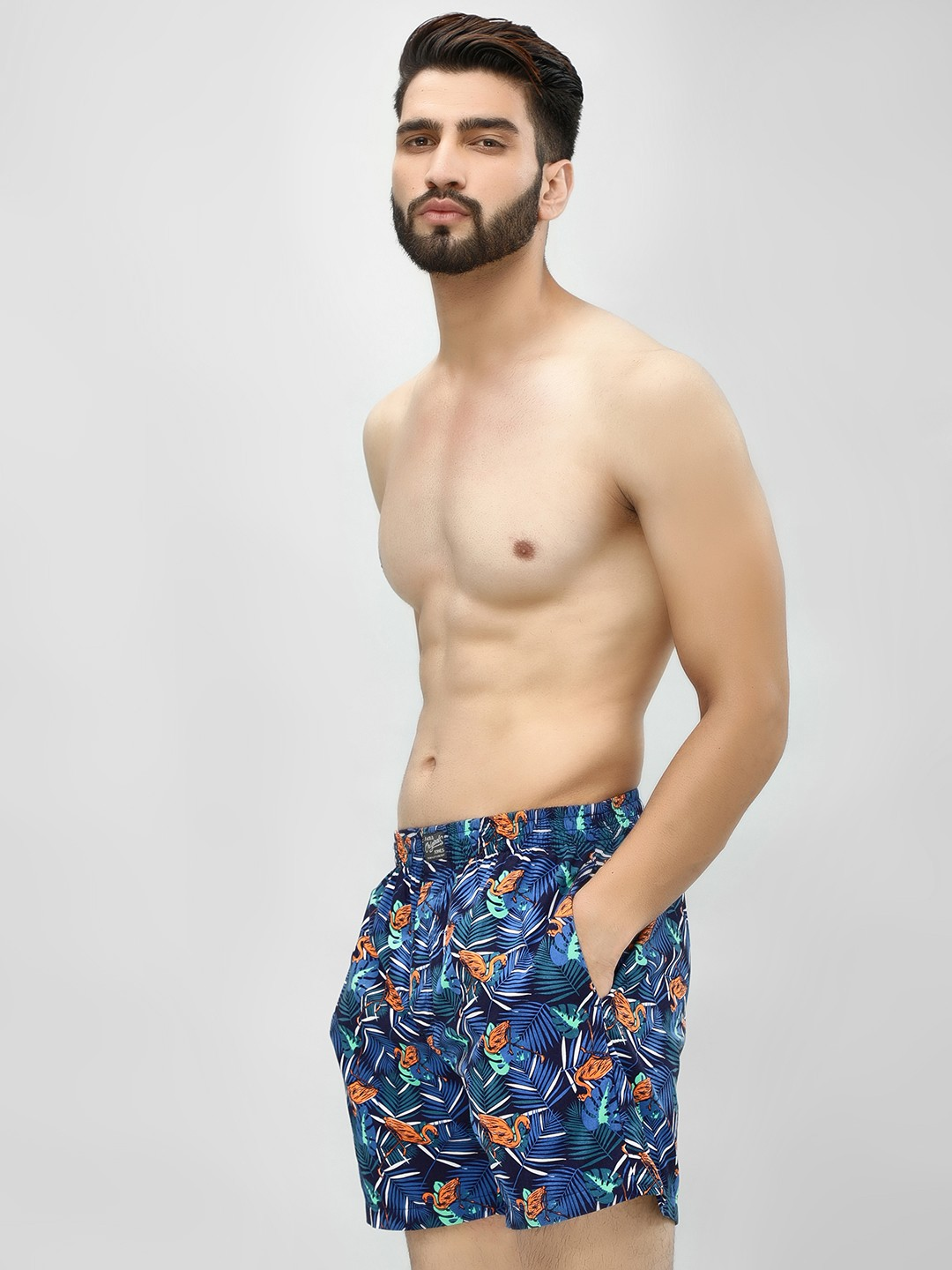 Jack & Jones Multi Pelican Leaf Print Boxers 1