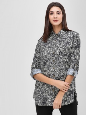 KOOVS Animal Print Workwear Sh...