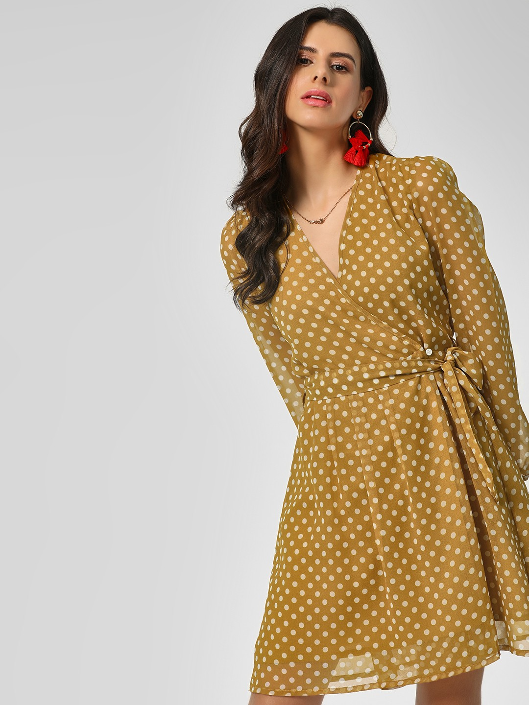 KOOVS Multi Polka Wrap Skater Dress 1