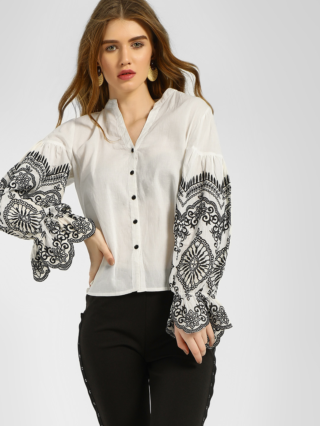 KOOVS White Embroidered Sleeve Casual Shirt 1
