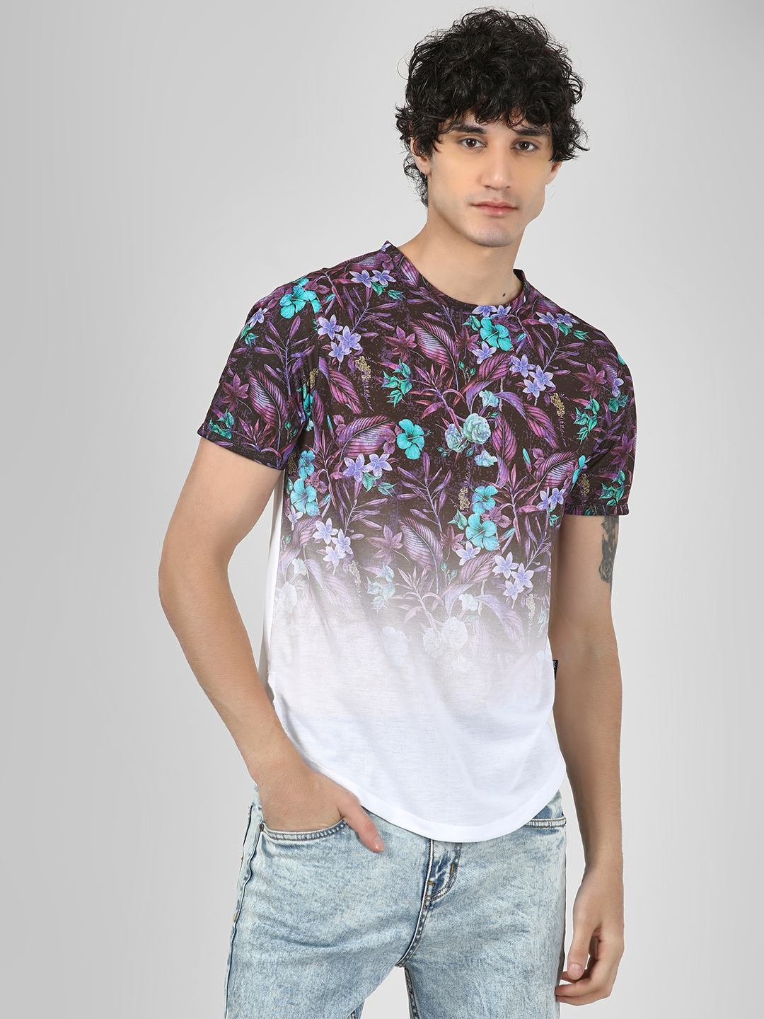 KOOVS Multi Floral Sublimation Print T-Shirt 1