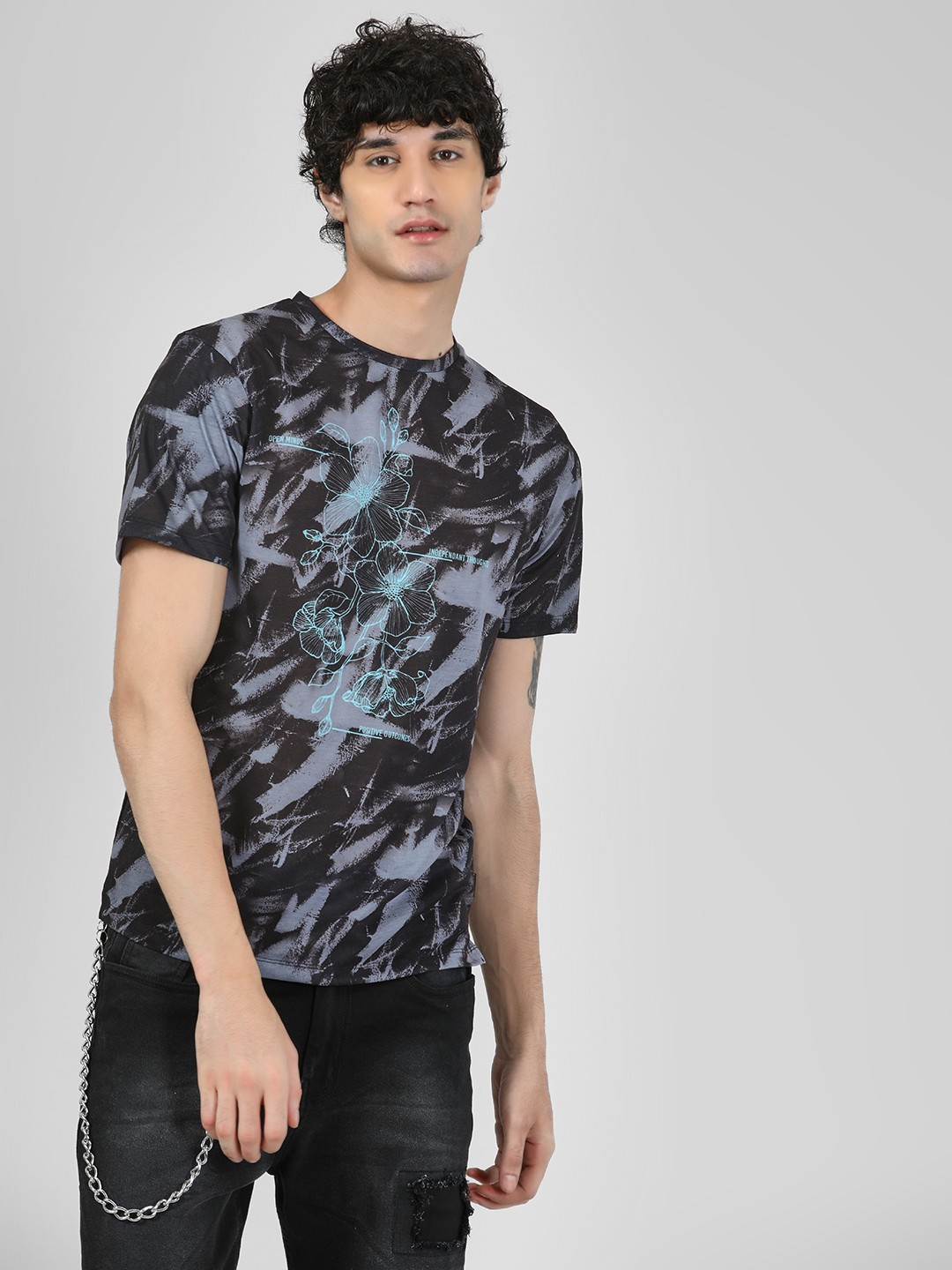KOOVS Multi Smudge Flower Placement Print T-Shirt 1