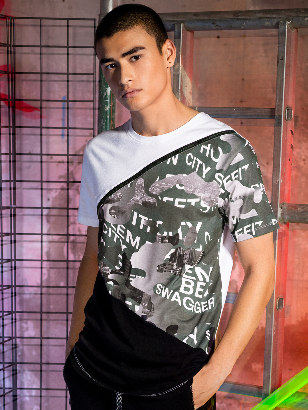 KOOVS Multi Cut & Sew Camo Panel T-Shirt 1