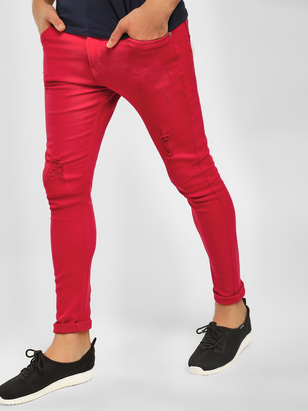 K Denim Red KOOVS Distressed Overdyed Skinny Fit Jeans 1