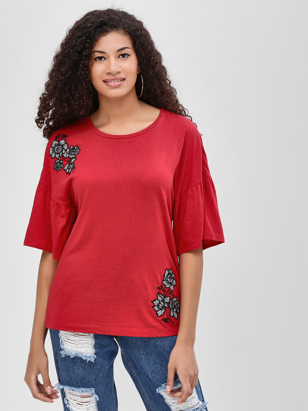 Vero Moda Red Floral Patch Detail T-Shirt 1