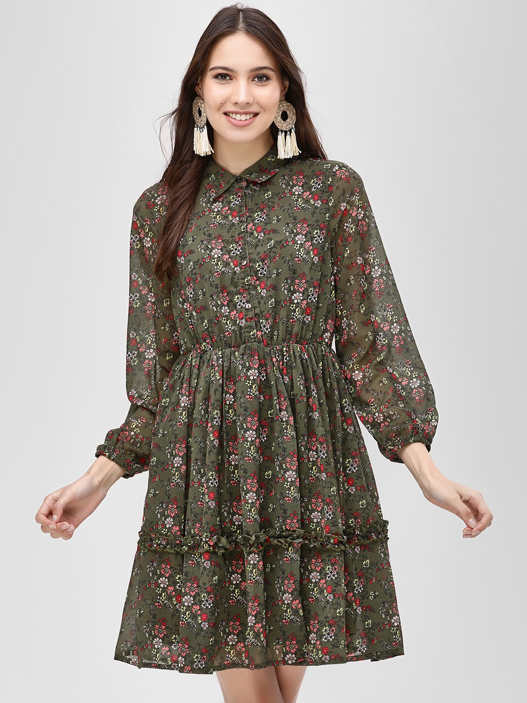 Vero Moda Green Floral Balloon Sleeve Shift Dress 1