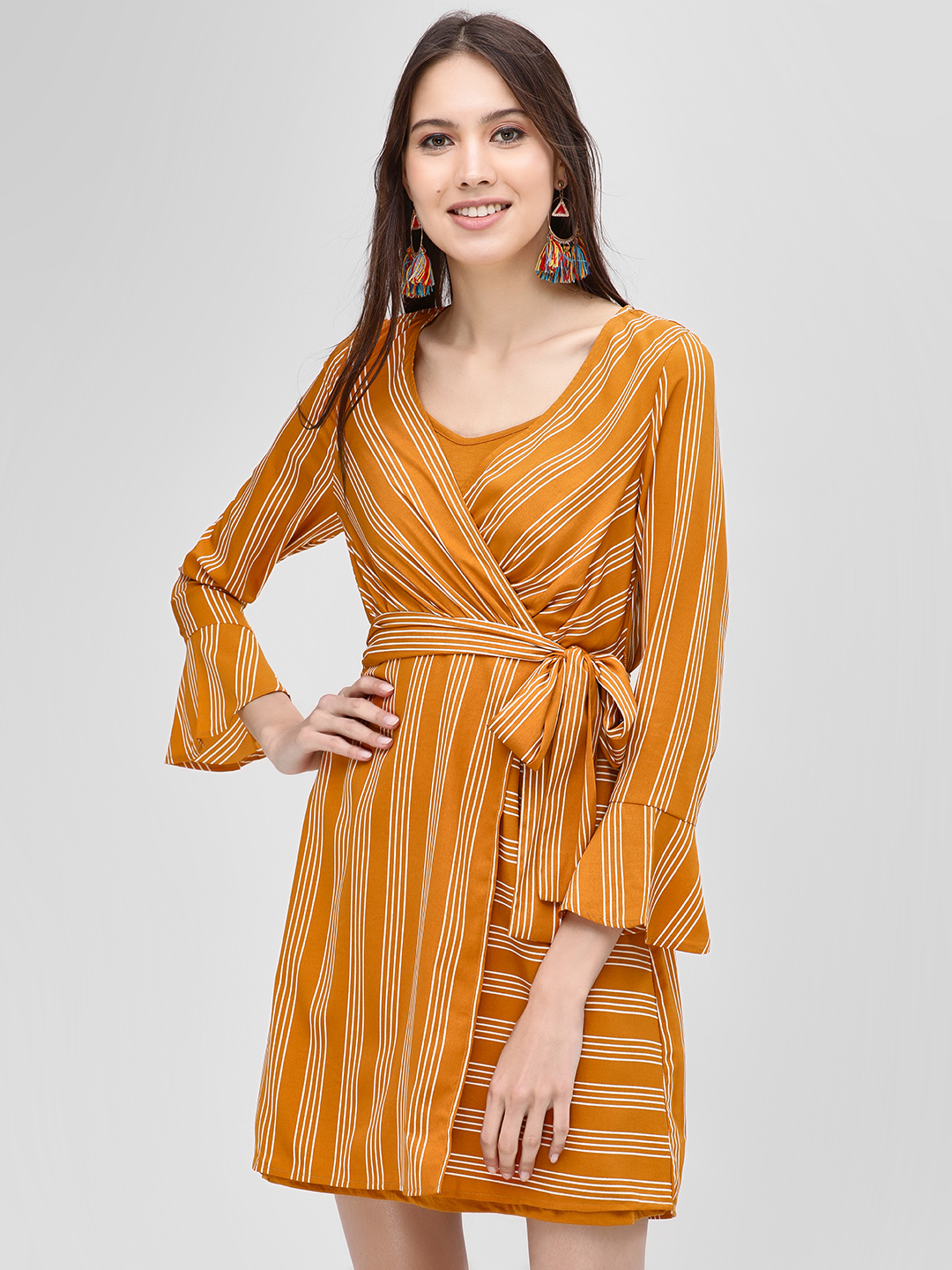 Vero Moda Mustard Striped Wrap Shift Dress 1