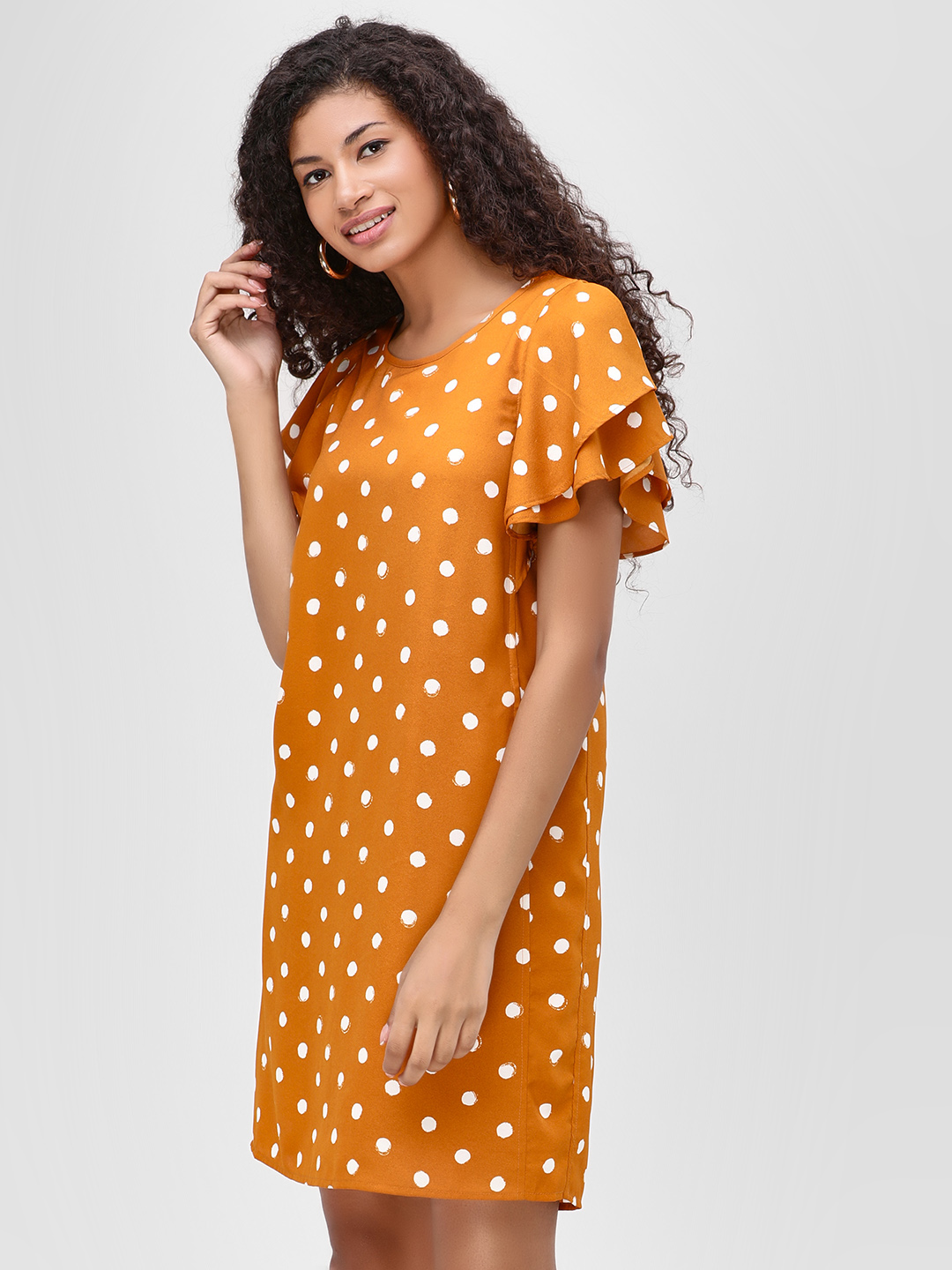 Vero Moda Mustard Polka Dot Print Shift Dress 1