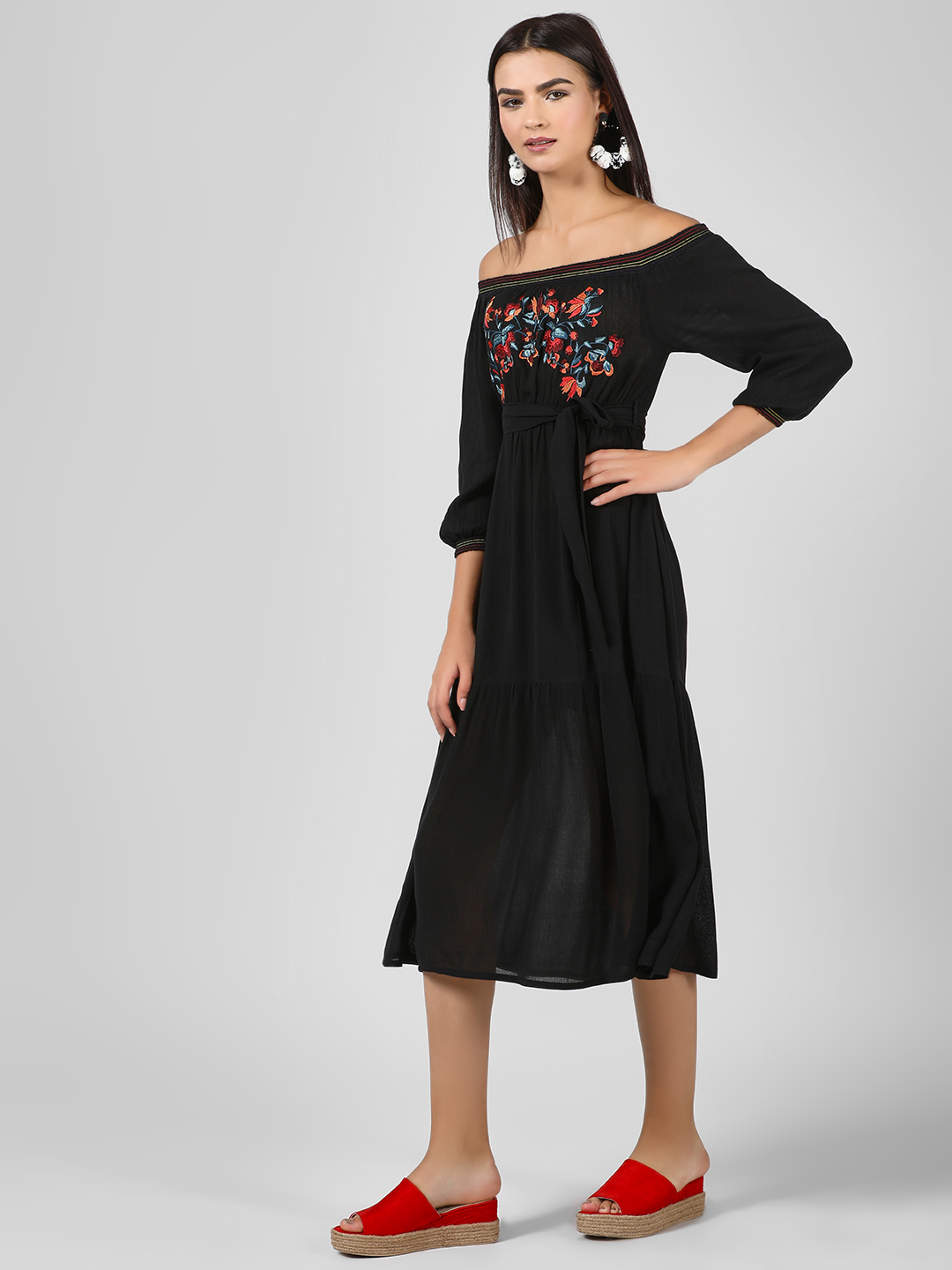 KOOVS Multi Embroidered Off Shoulder Dress 1