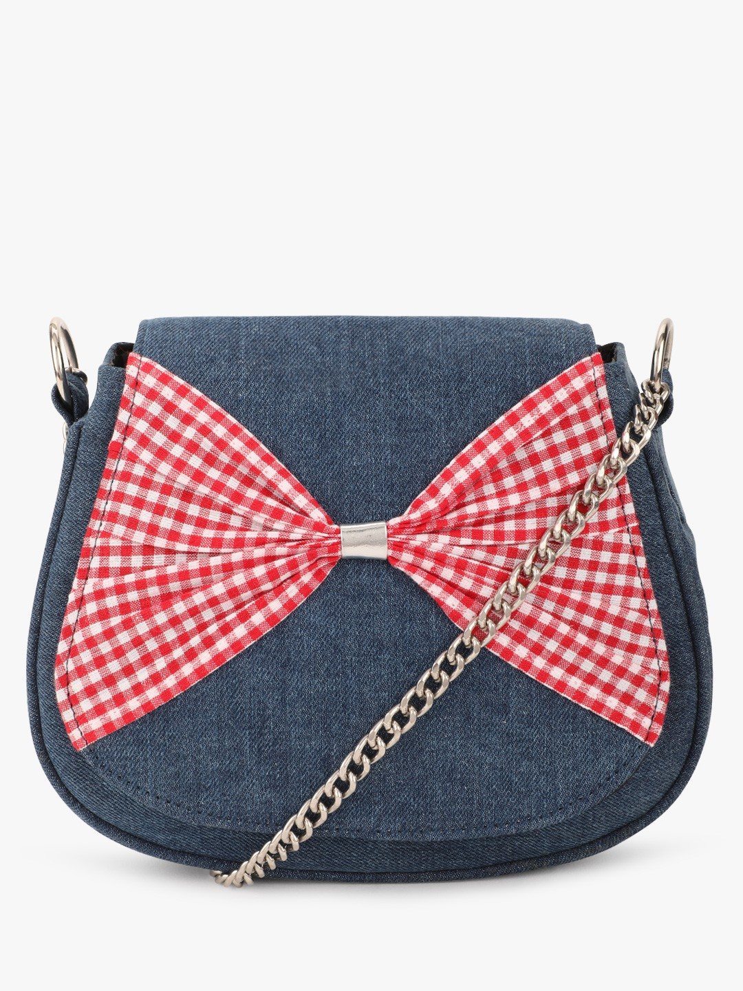 The Love Hook Blue Checkered Bow Tie Sling Bag 1