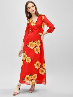 Closet Drama Sunflower Print Wrap Maxi Dress