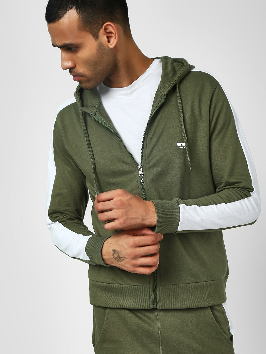 Garcon Green Sweatshirt With Side Stripe Detail 1