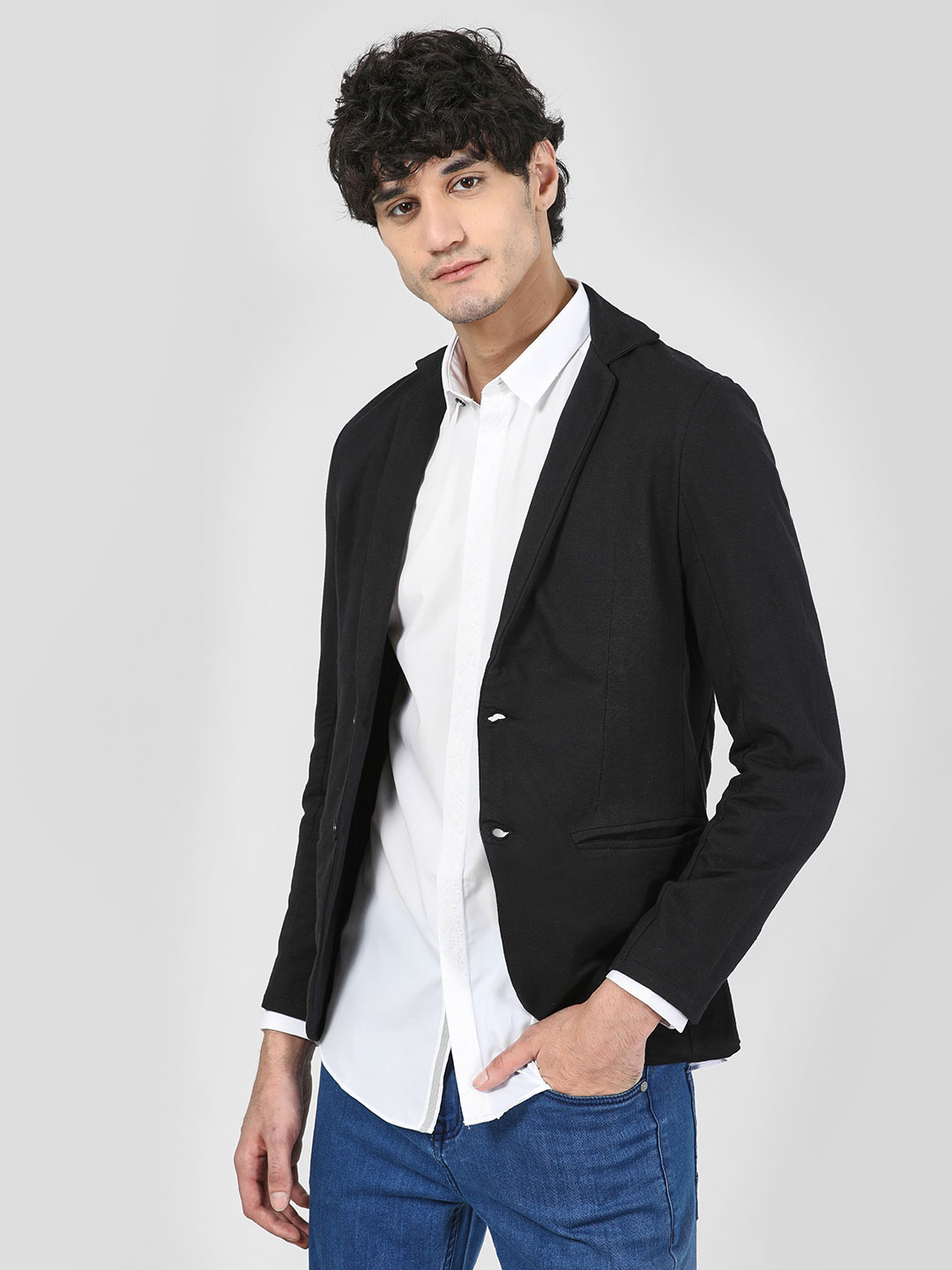 Garcon Black Knitted Slim Fit Blazer 1