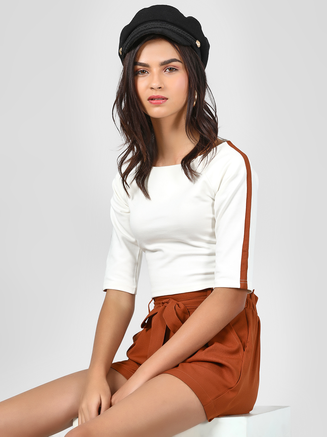 KOOVS White Basic Shoulder Tape T-Shirt 1