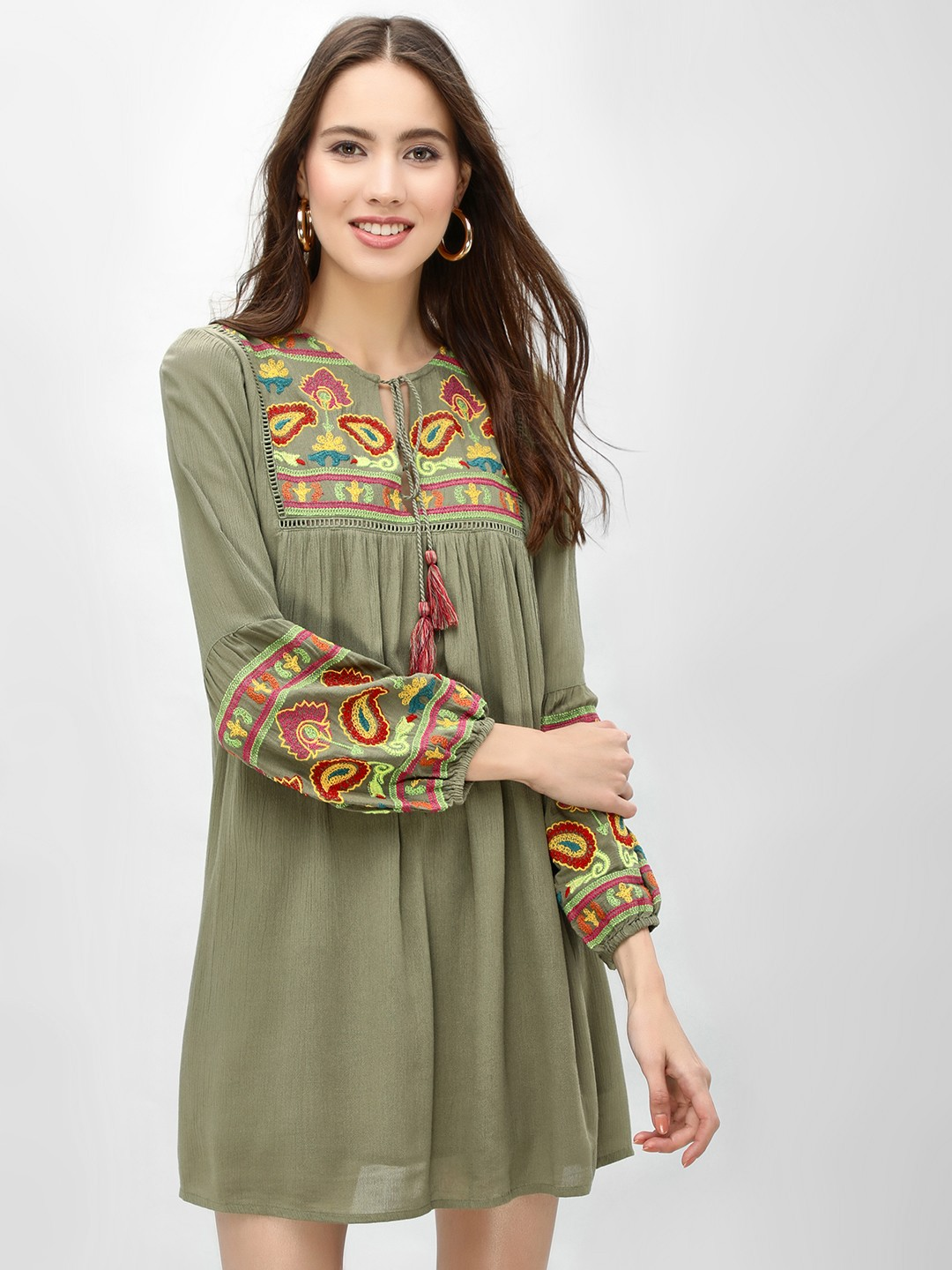 Rena Love Khakee Contrast Embroidered Shift Dress 1