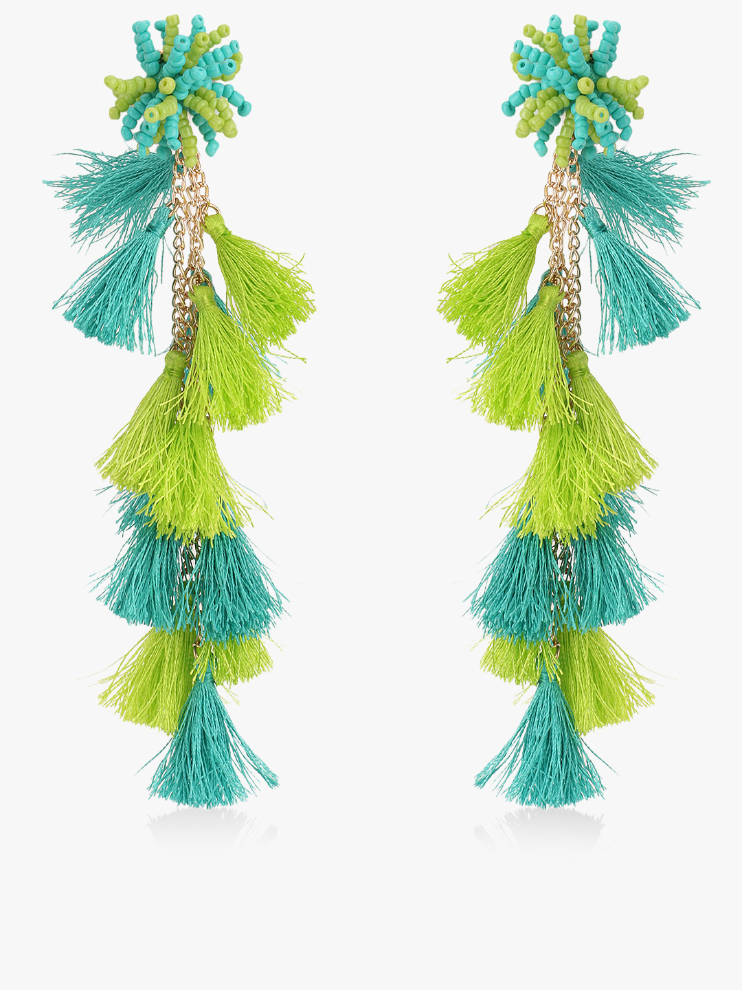 Blueberry Green Bead And Tassel Drop Earrings 1