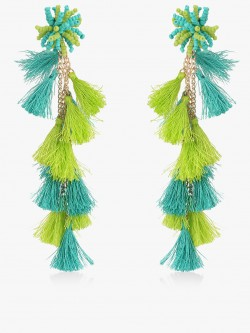 Blueberry Bead And Tassel Drop Earrings