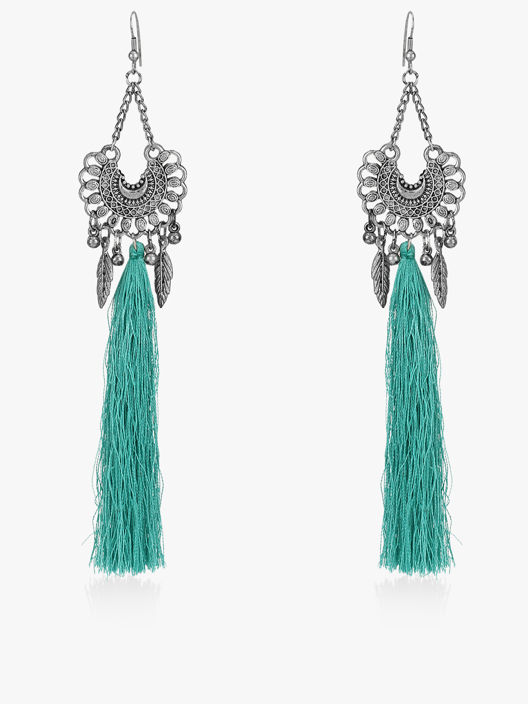 Blueberry Blue Antique Long Tassel Drop Earrings 1