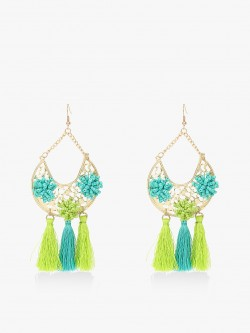 Blueberry Beaded Tassel Drop Statement Earrings