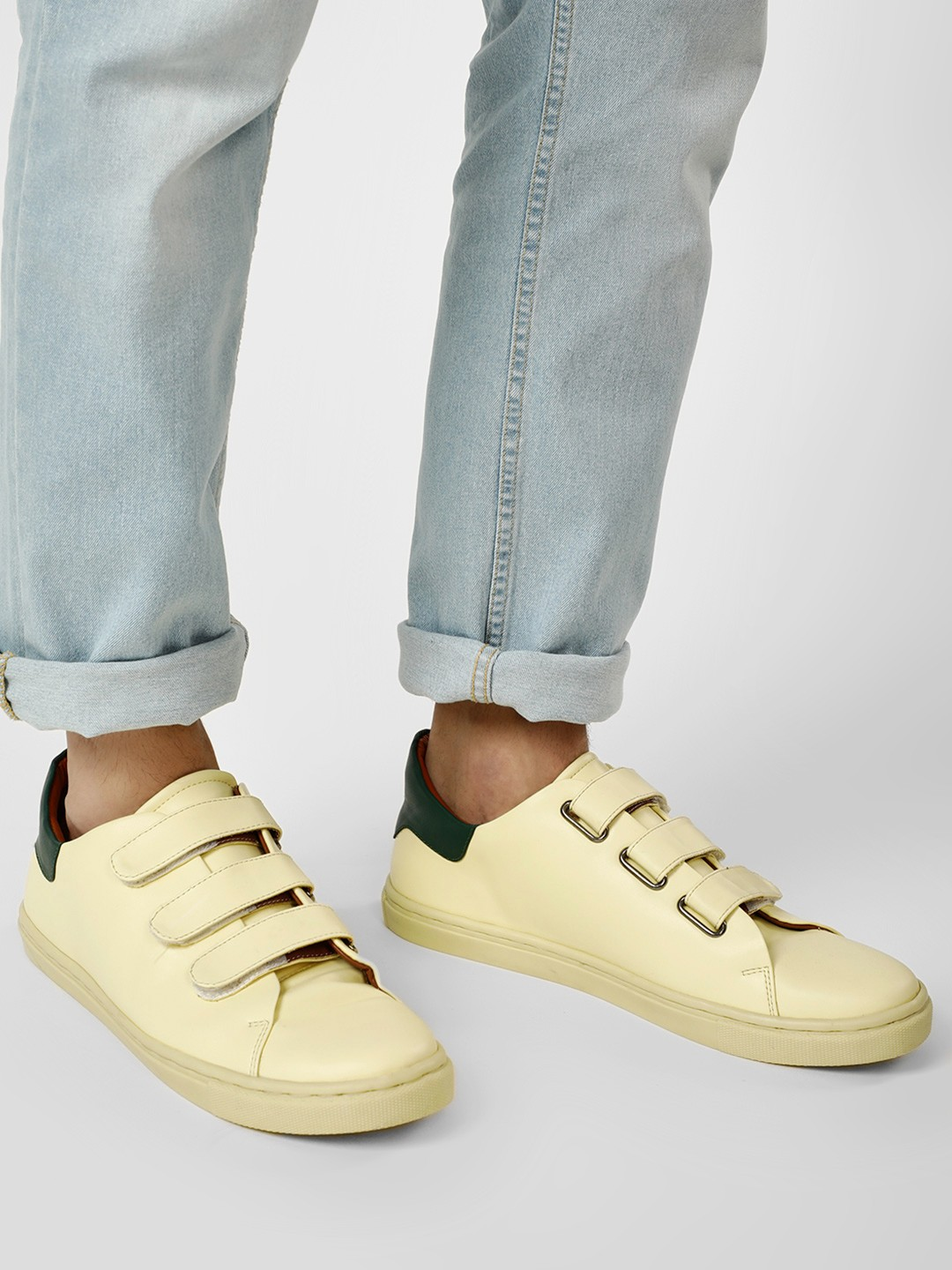 Bolt Of The Good Stuff Yellow Contrast Tab Multi-Closure Sneakers 1