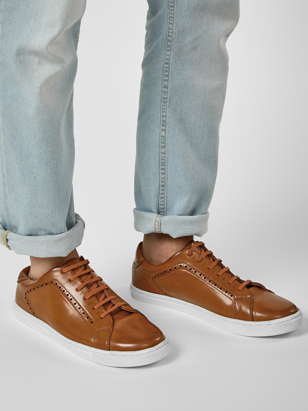 Bolt Of The Good Stuff Brown Perforated Paneled Sneakers 1