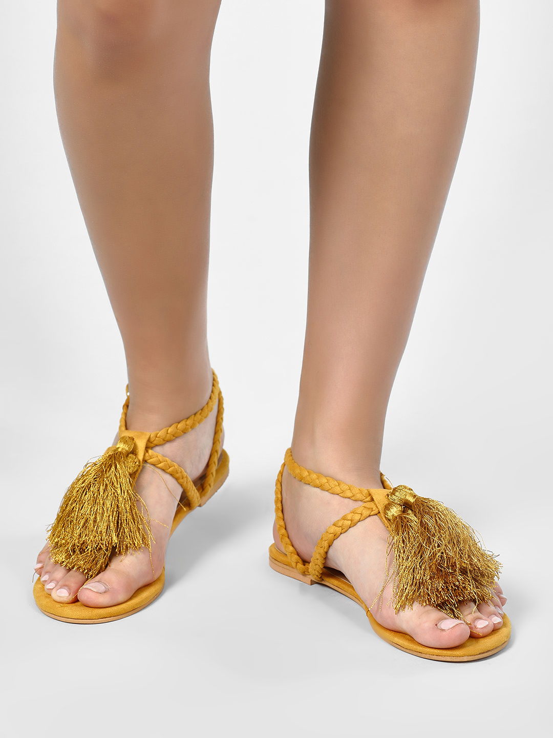 KOOVS Yellow Fringe Detail Flat Sandals 1