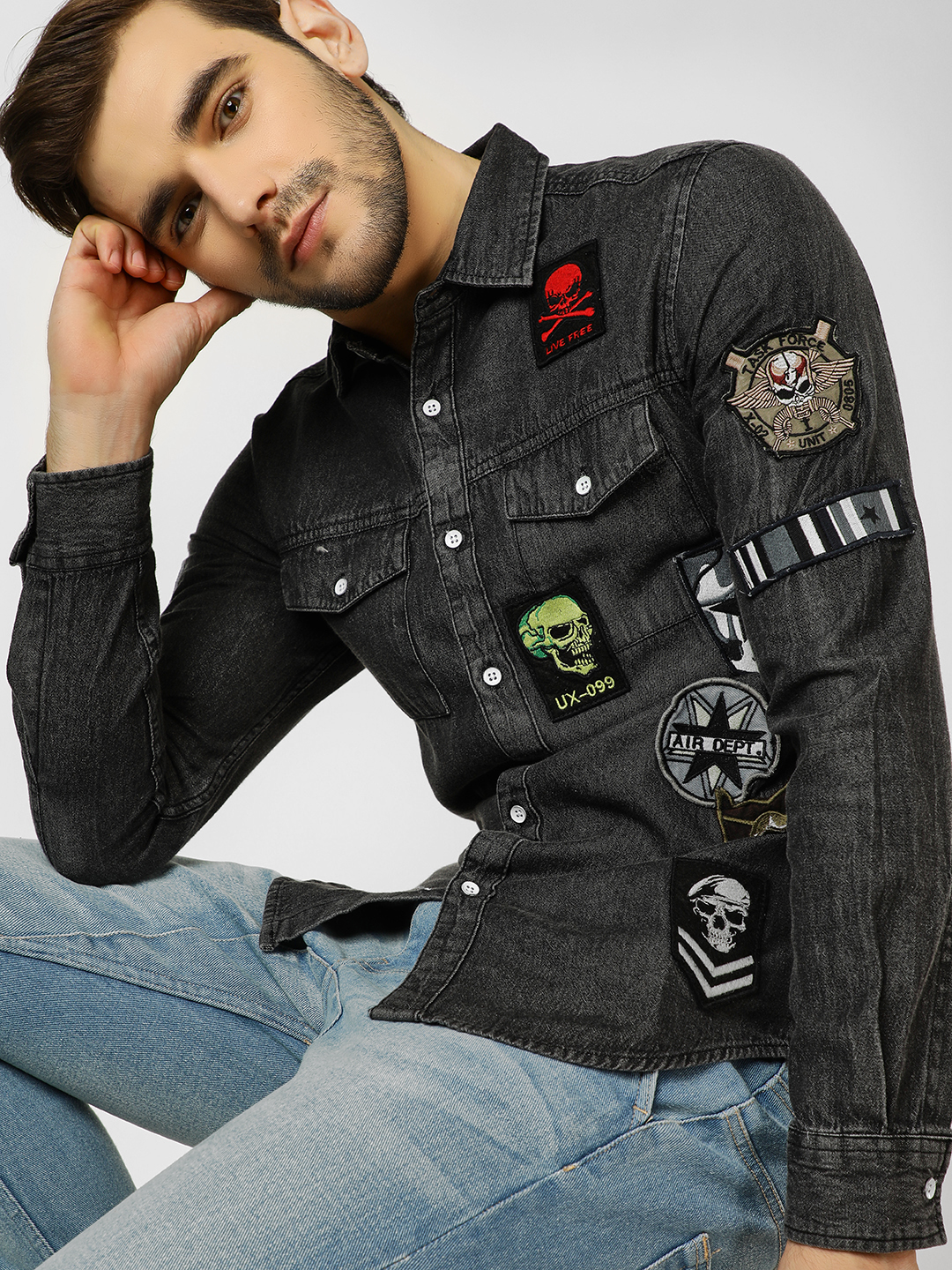 Styx & Stones Grey Badge Embroidered Casual Shirt 1