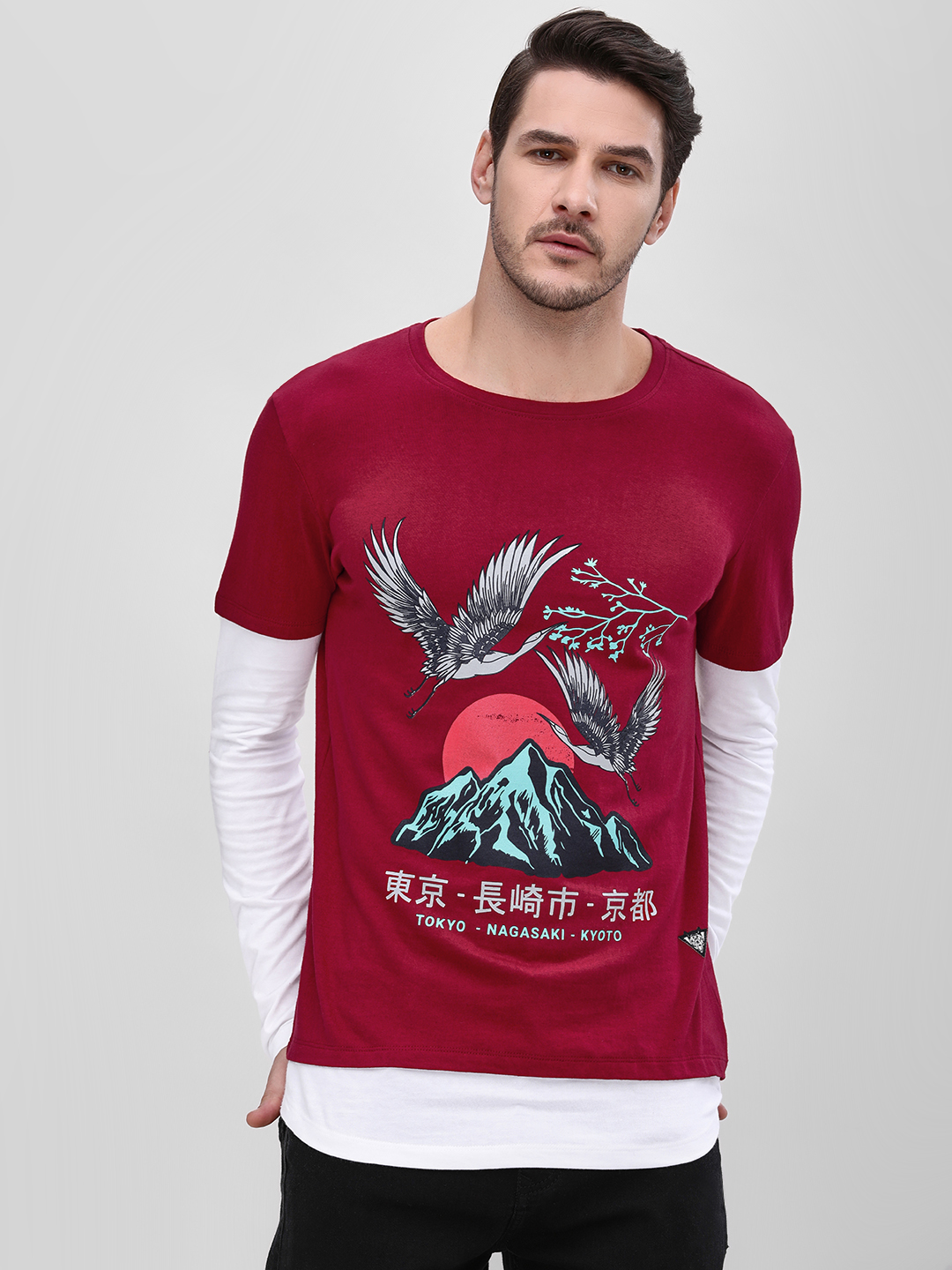 Styx & Stones Red Printed Contrast Layered Sleeve T-Shirt 1