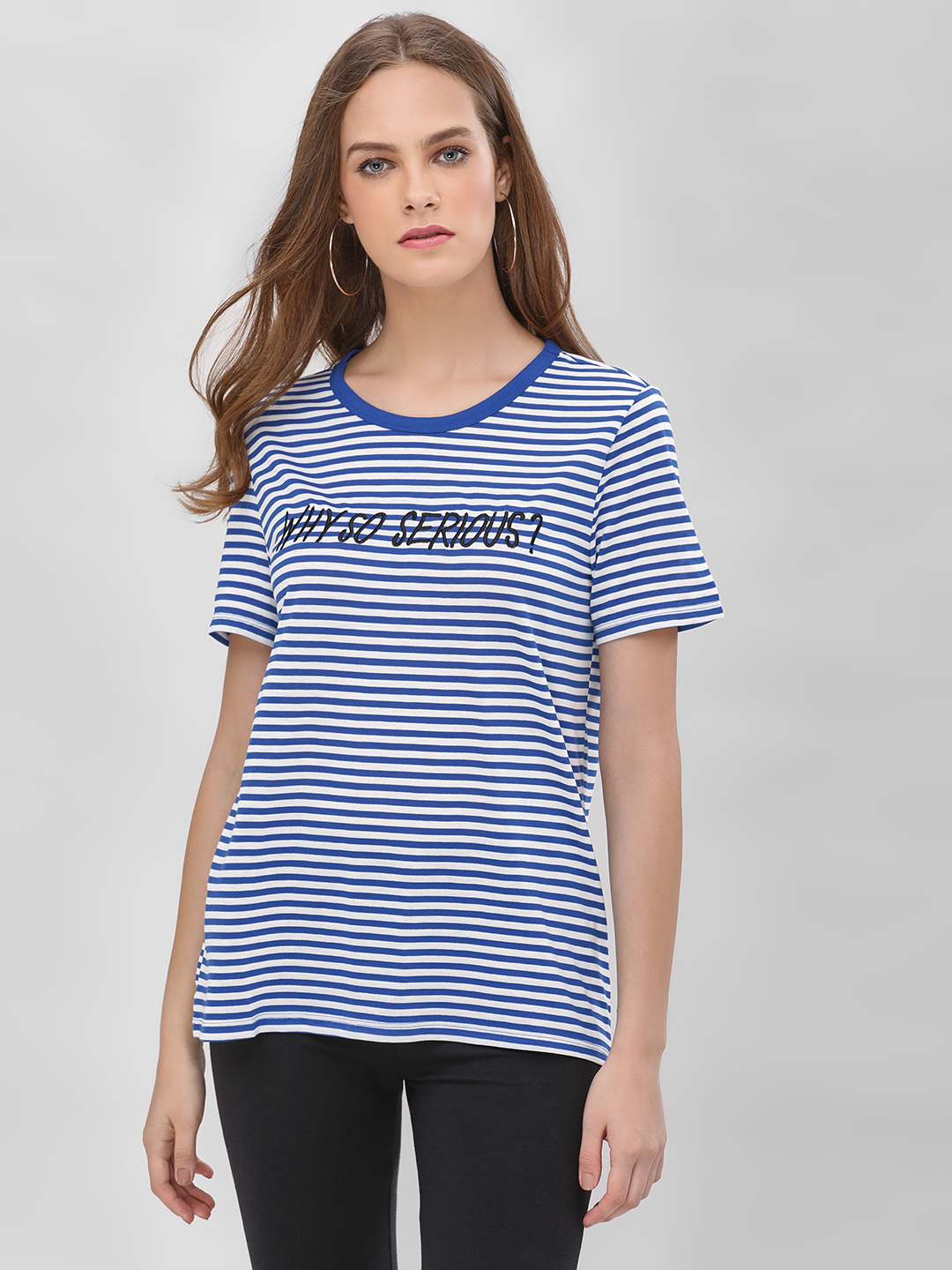 Only Blue Slogan Embroidered Striped T-Shirt 1