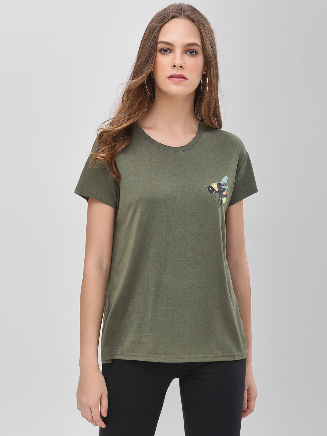 Only Olive Bee Placement Print T-Shirt 1