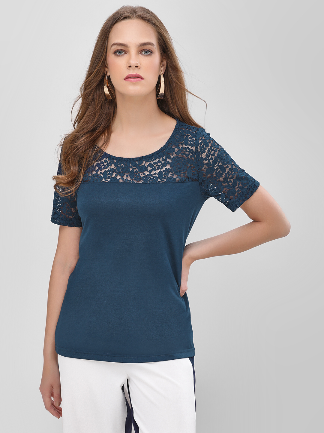 Only Blue Floral Lace Panel Top 1