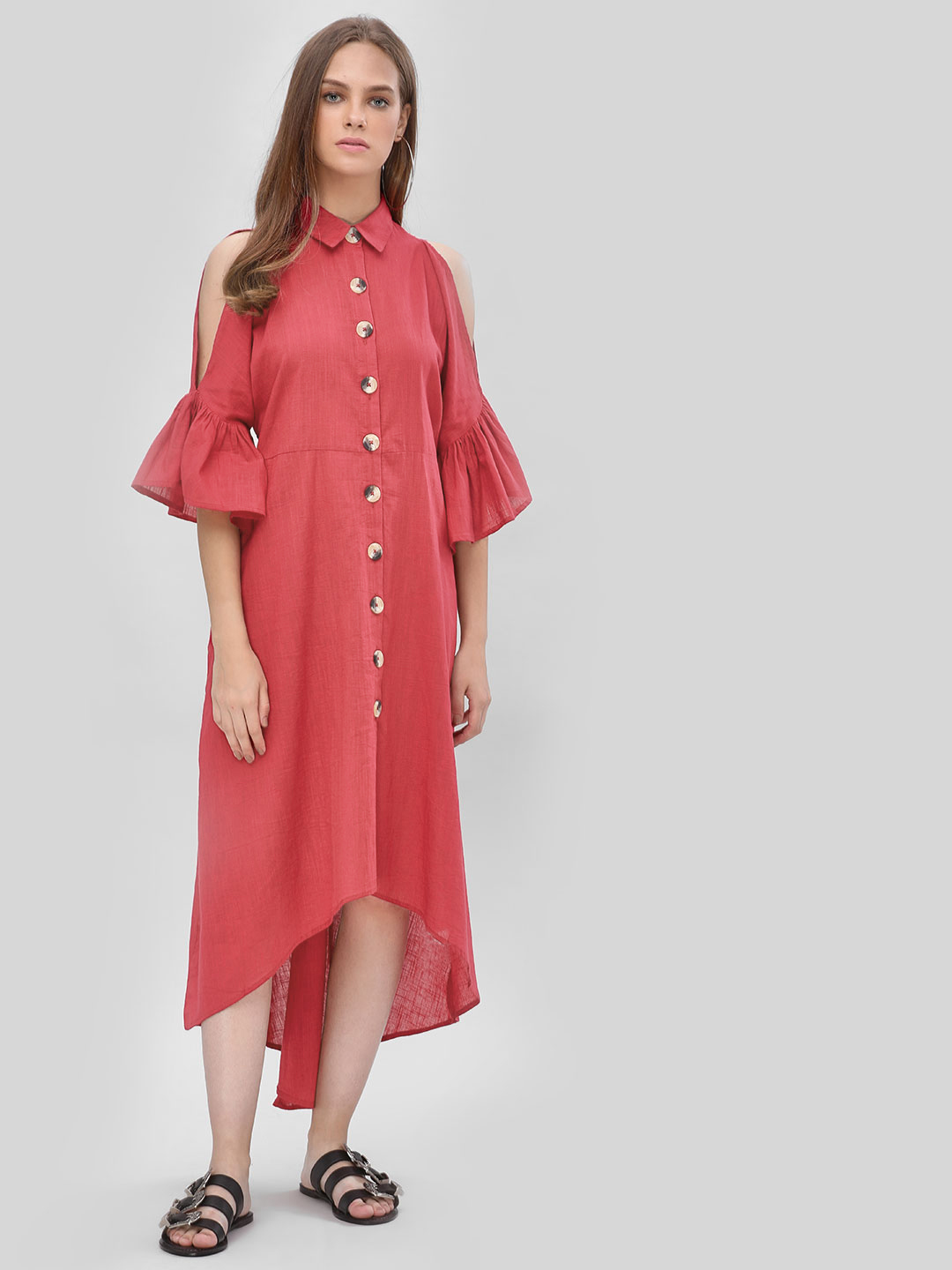 KOOVS DARK RED Cold Shoulder Shirt Dress 1