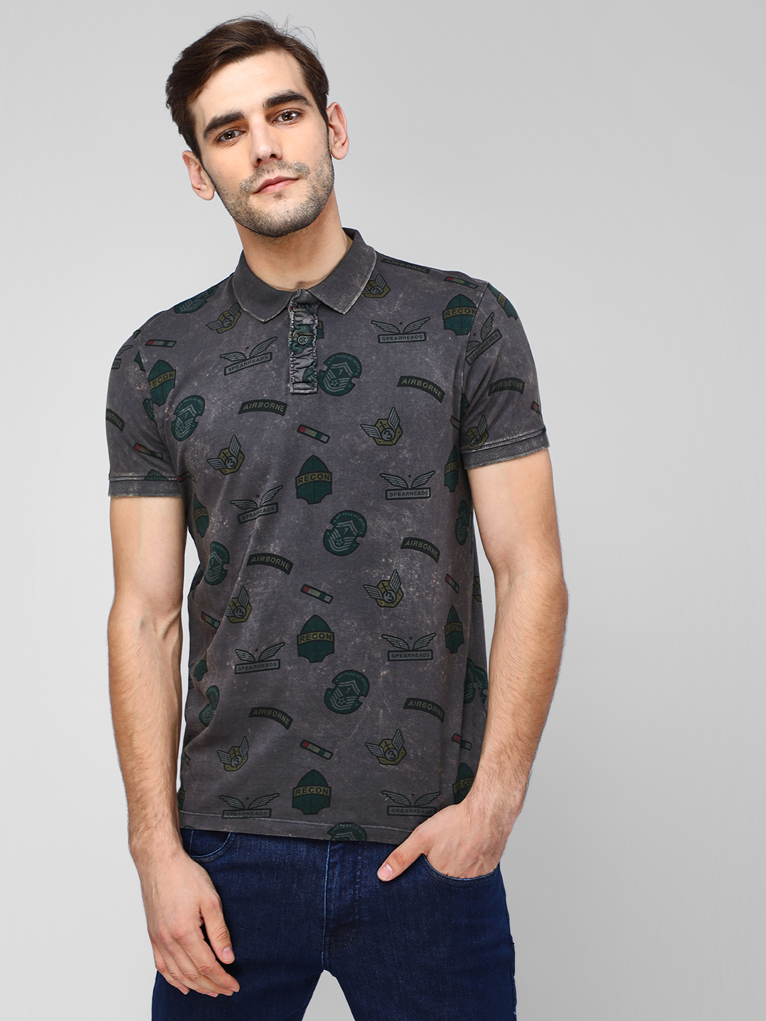 Jack & Jones Black All Over Print Polo Shirt 1