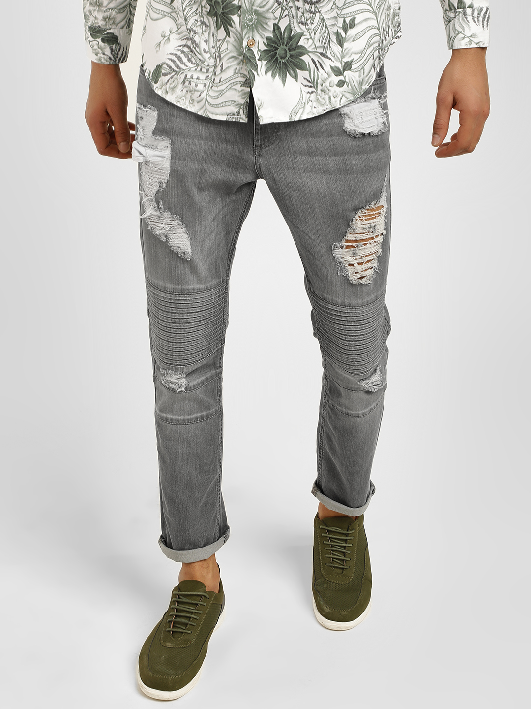 Styx & Stones Grey Biker Panel Ripped Slim Jeans 1