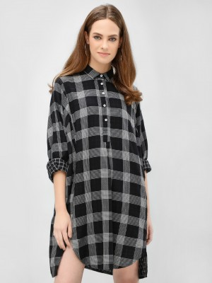 KOOVS Oversized Check Shirt Dr...