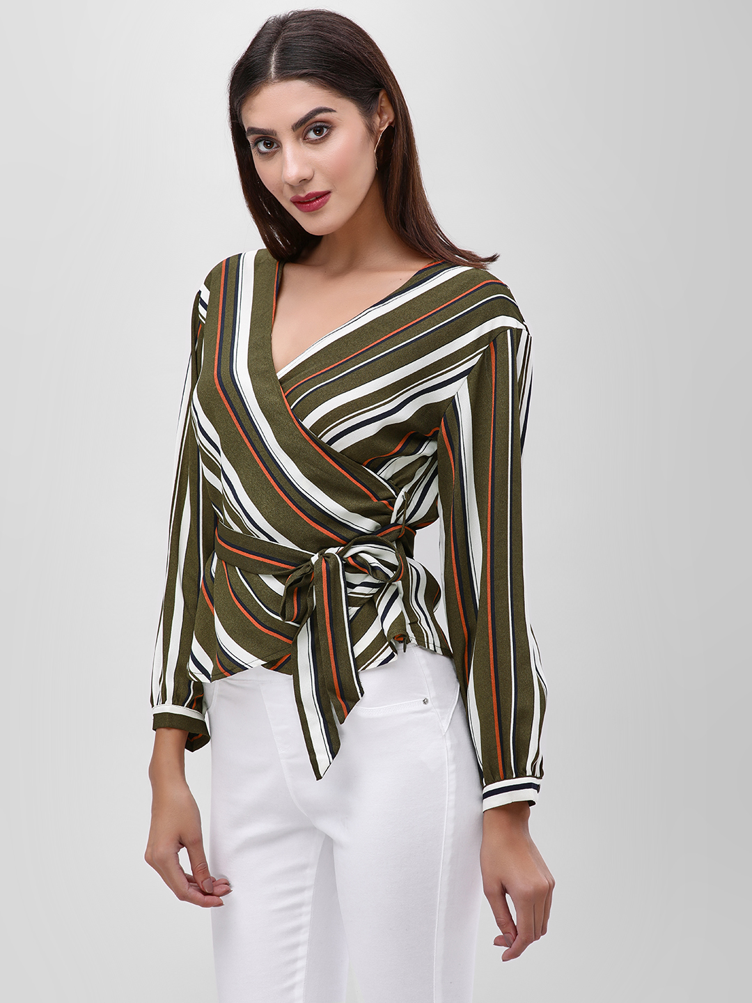 Iris Multi Striped Wrap Front Blouse 1