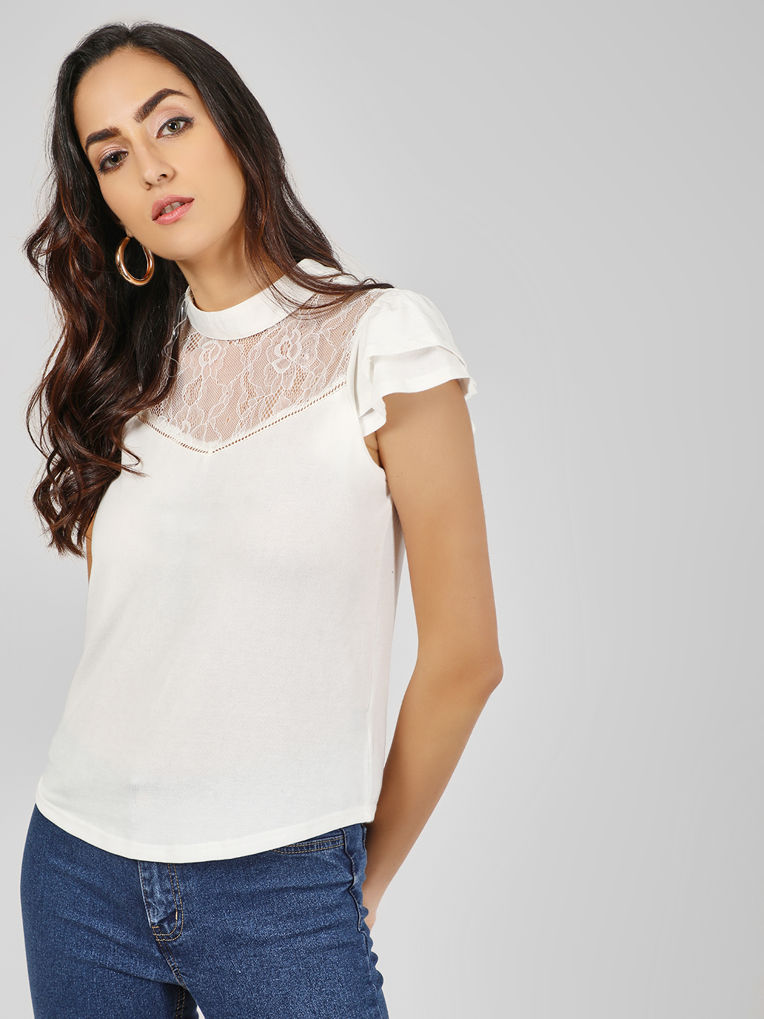 Iris White Layered Sleeve Blouse 1