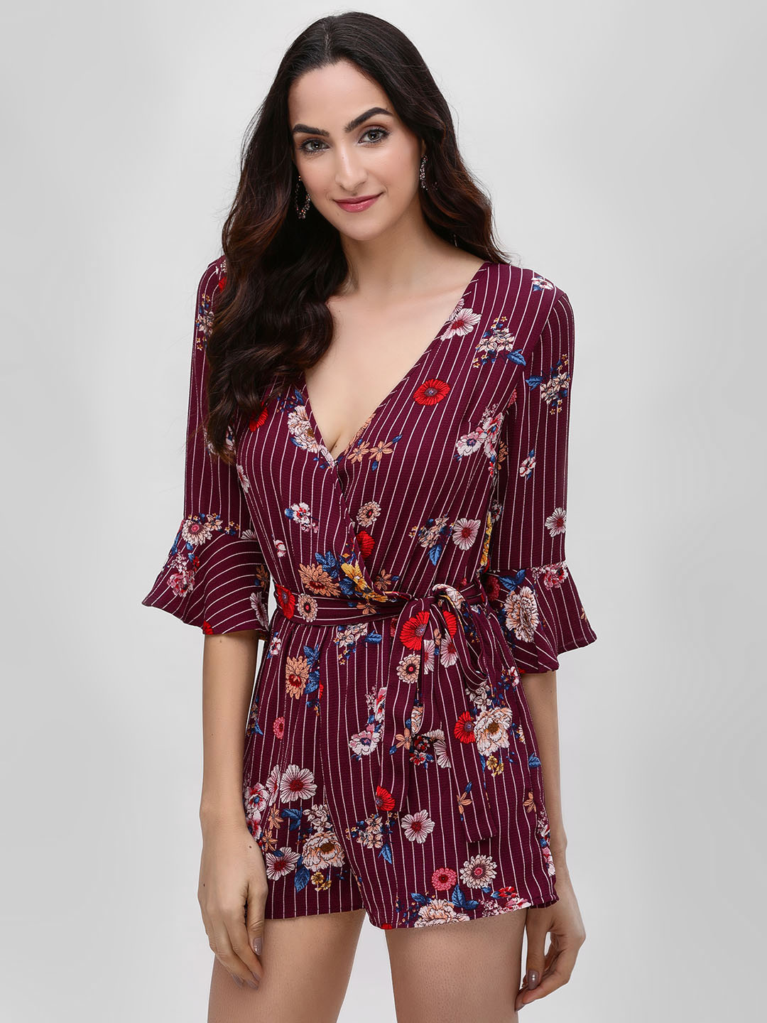 Iris Purple Floral Playsuit With Flared Sleeves 1