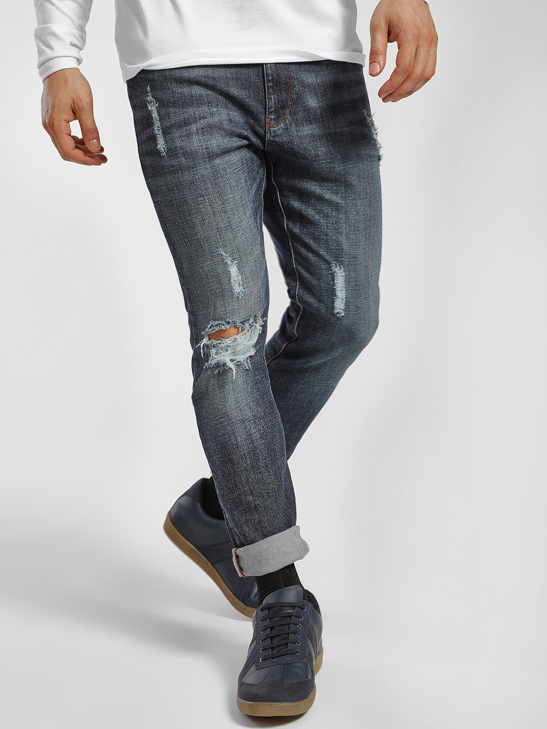 X.O.Y.O Blue Mid Wash Distressed Skinny Jeans 1