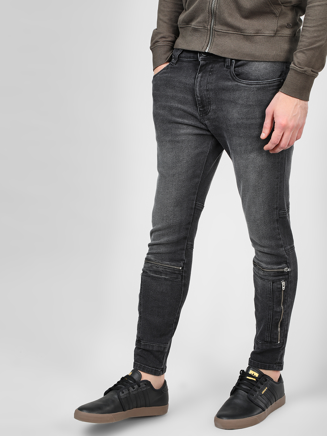 X.O.Y.O Grey Washed Cut & Sew Slim Fit Jeans 1