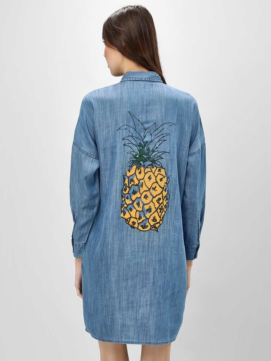 Beyond Clouds Blue Denim Dress With Sequined Pineapple Print 1