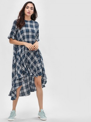 KOOVS Multi-Check Flared Asymm...