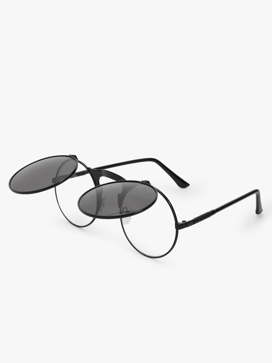 Sneak-a-Peek Black Double Framed Round Sunglasses 1
