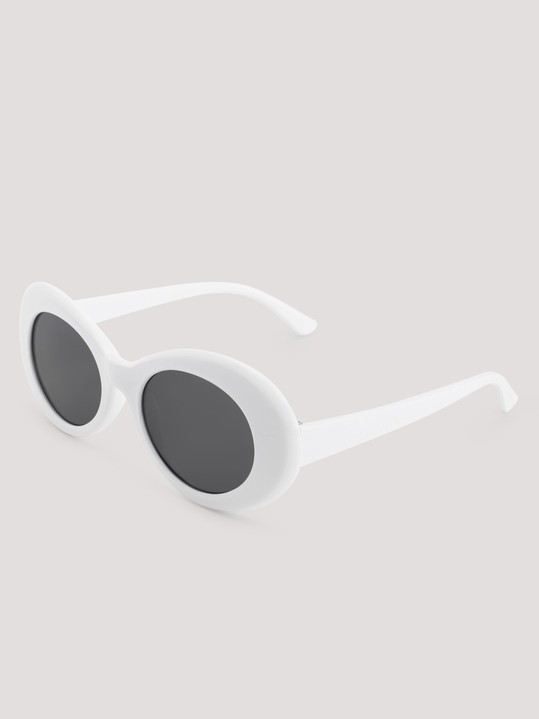 Sneak-a-Peek White Thick Elliptical Retro Sunglasses 1
