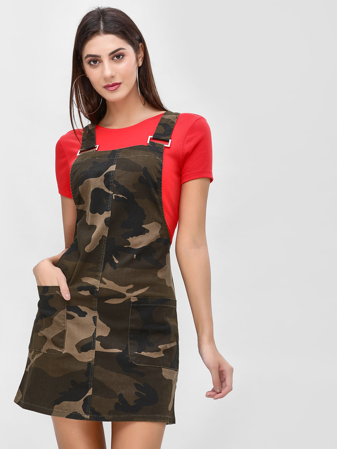 New Look GREEN PATTERN Camo Print Dungaree Dress 1