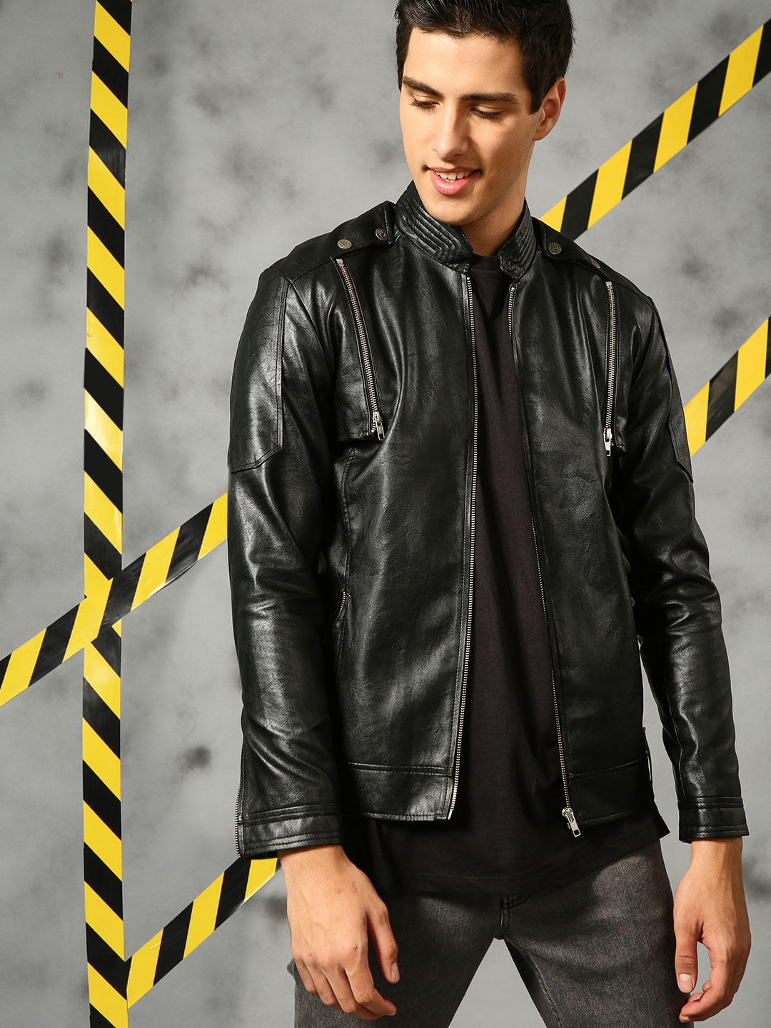 KUNAL RAWAL X KOOVS Black Detachable Sleeve Biker Jacket 1