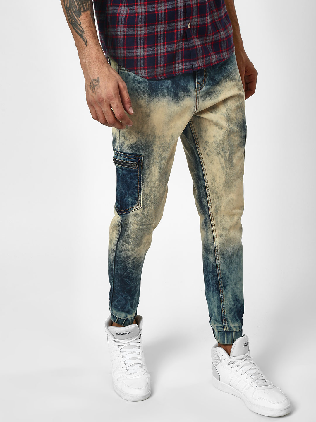 K Denim Blue Light Bleached Denim Joggers 1