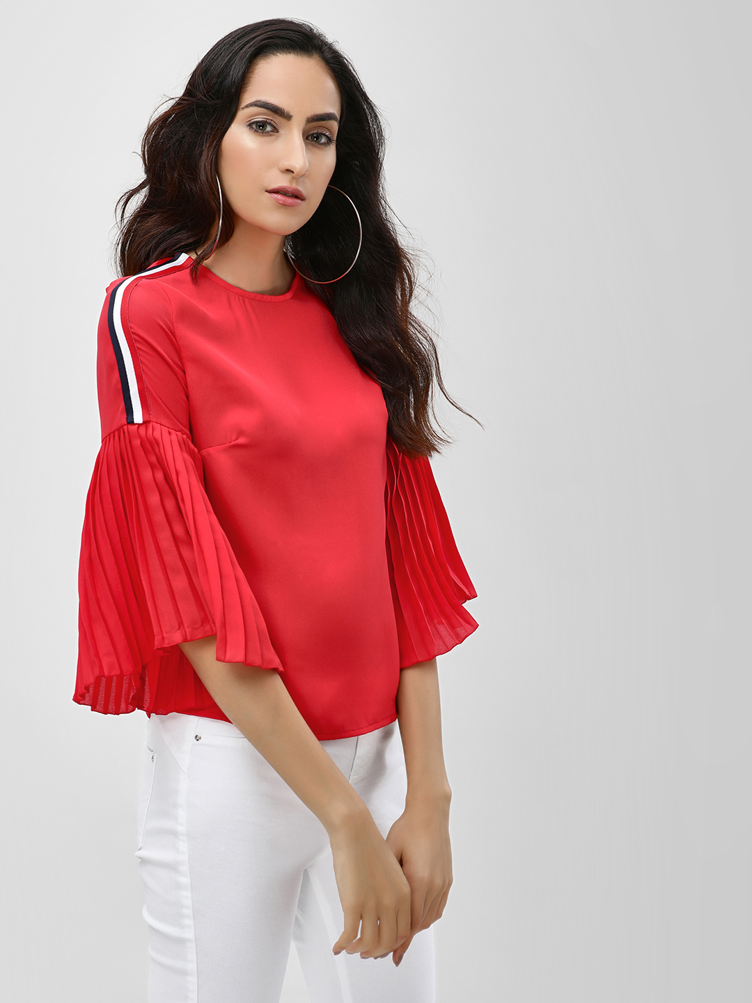 Ri-Dress Red Side Stripe Pleated Sleeve Blouse 1