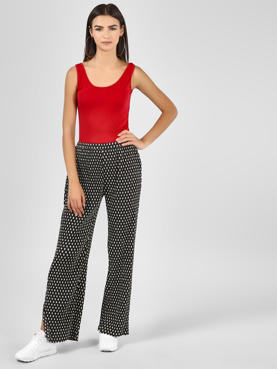 Glamorous Black Plisse Spot Print Trousers with Slits 1